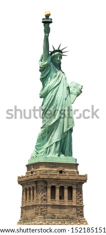 The Statue of Liberty in New York City. American symbol, isolated on white. - stock photo