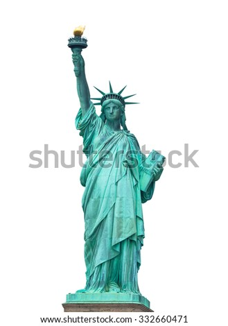 The Statue of Liberty in New York City isolated on white background - stock photo
