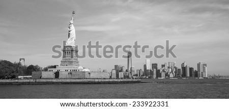 The Statue of Liberty in New York, USA. (black and white) - stock photo