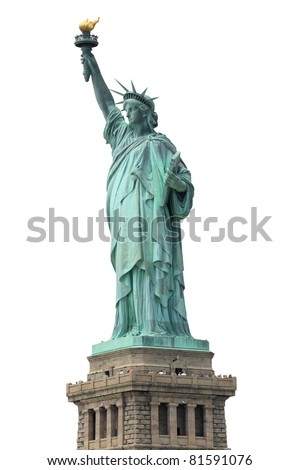The Statue of Liberty isolated on white, New York City - stock photo