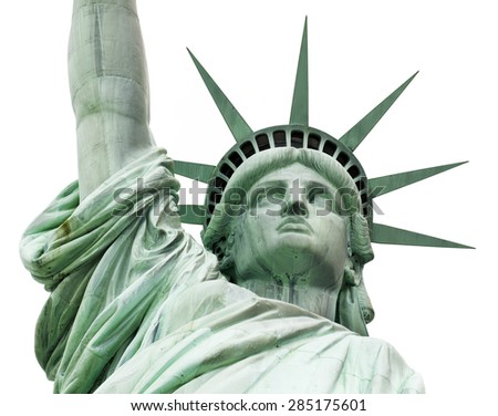 The Statue of Liberty isolated on white, New York City, June 2015 - stock photo