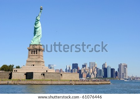 The Statue of Liberty on Liberty Island. - stock photo