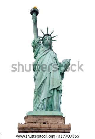The Statue of Liberty, Statue of Liberty, Liberty Statue, American Symbol, New York, USA , isolated on white (with clipping path) - stock photo