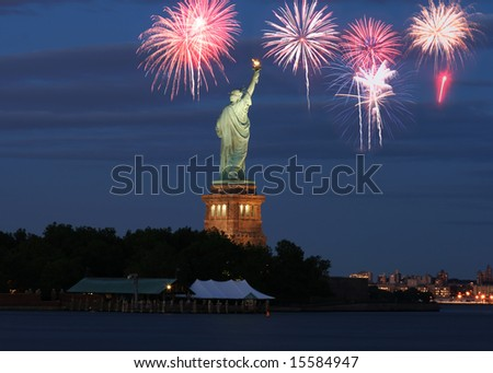 The Statue of Liberty with firework illustration - stock photo