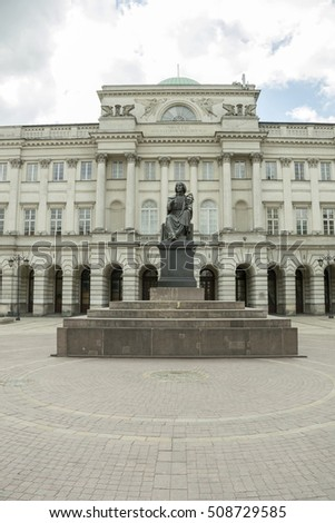 The statue of mathematician and astronomer Copernicus in Warsaw, Poland