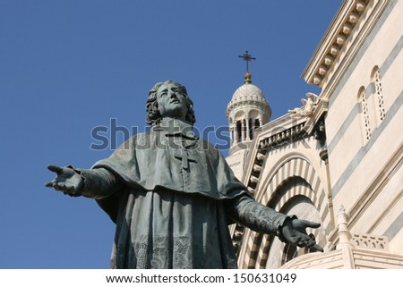 "The statue of ""Monseigneur de Belsunce"" near cathedral ""Major"" in Marseille, France."