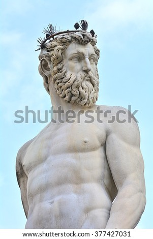 The statue of Poseidon in Florence, Italy. - stock photo