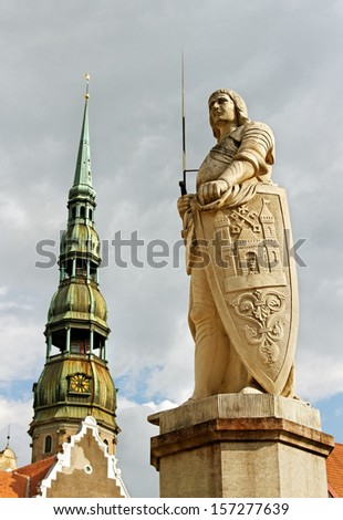 The statue of Roland is monument  of knight -  symbol of freedom. - stock photo