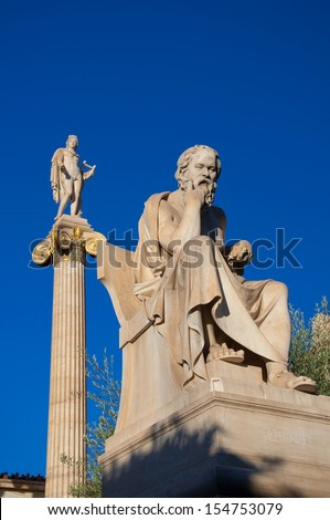 The statue of Socrates. Athens, Greece. - stock photo