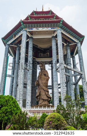 "The statue of the Kuan Yin at The Kek Lok Si Temple ""Temple of Supreme Bliss""  a Buddhist temple situated in Air Itam in Penang - stock photo"
