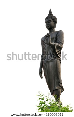 The Statue of the Walking Buddha on white background. - stock photo