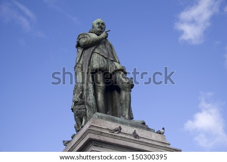 The statue of William of Orange, or the Silent, of the Netherlands. The statue was made by Louis Royer in 1848. - stock photo