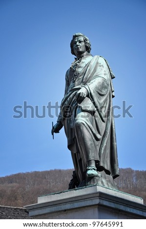 The statue of Wolfgang Amadeus Mozart in Salzburg, Austria - stock photo