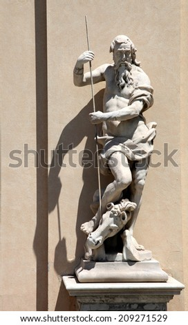 The statue outside of Palazzo Reale in Genova, Italy - stock photo