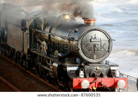 The steam locomotive King Edward I on the historic Brunel south Devon Coastal route - stock photo