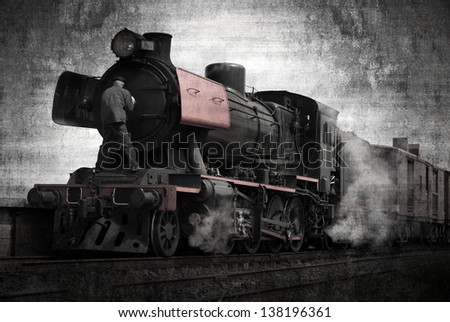 The steam train on the Goldfields Railway in country Victoria, Australia - stock photo