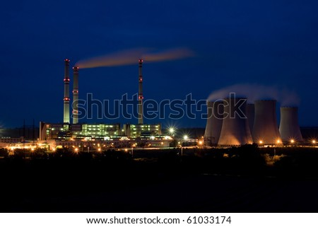 the steam turbine power plant Pocerady by night - Czech Republic - stock photo