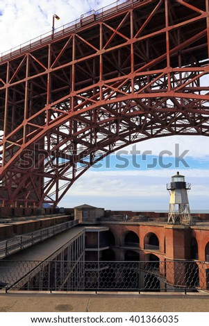 The steel beams comprising the underside of the Golden Gate Bridge arch over historic Fort Point in San Francisco. - stock photo