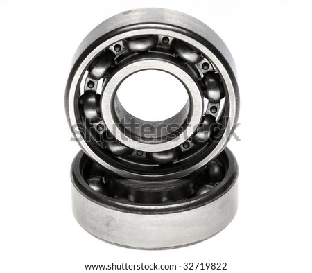 The steel bearing it is photographed on a white background