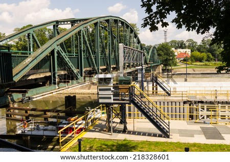 The steel bridge over the river Oder in Opole - stock photo