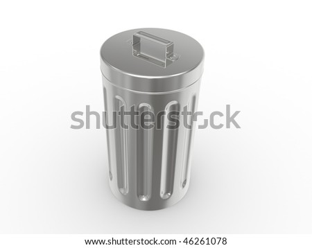 The steel garbage container on a white background