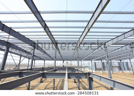 The steel structure, is under construction - stock photo