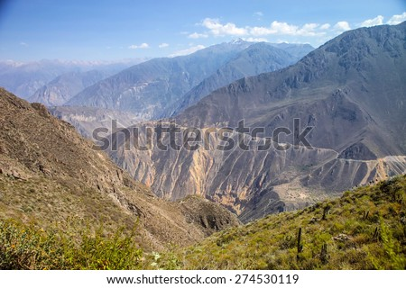 the steep paths Colca Canyon, Peru - stock photo