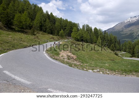 The Stelvio Pass, mountain pass in northern Italy, at an elevation of 2,757 m above sea level. It is the highest paved mountain pass in the Eastern Alps - stock photo