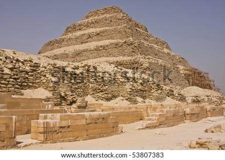The Step Pyramid of Phraoh Djoser at Sakkara in Egypt - stock photo