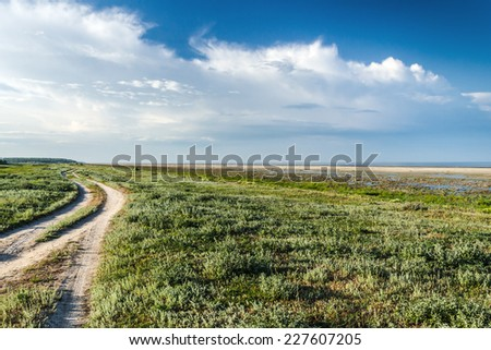 The steppe road to the sea - stock photo