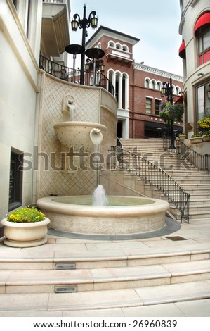 The steps of Via Rodeo in Beverly Hills, California. - stock photo