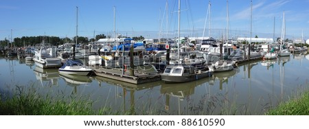 The Steveston Harbor Authority marina at it's Paramount site on the Fraser River. Richmond, British Columbia, Canada near Vancouver. - stock photo