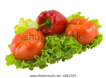 the still life from tomatoes, pepper and salad