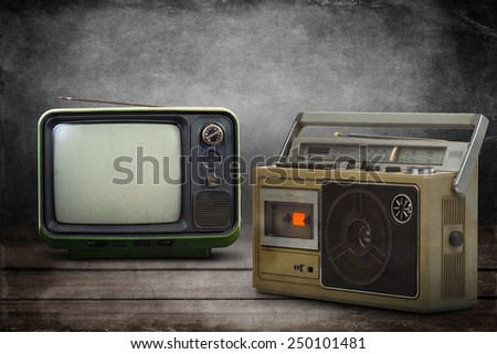 the still life retro ghetto blaster with Vintage style old television