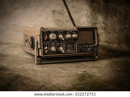 the still life retro radio - stock photo