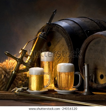 the still life with beer - stock photo