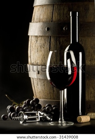 the still life with glass wine