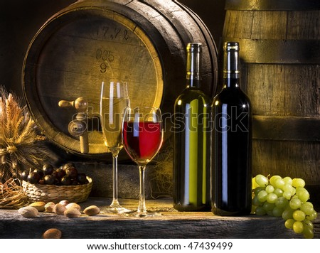 the still life with red wine and barrels - stock photo