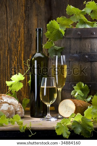 the still life with wine - stock photo