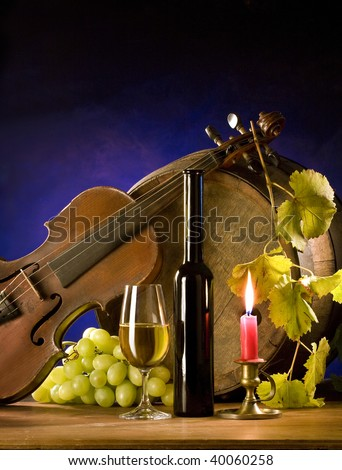 the still-life with wine - stock photo