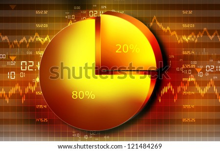 The Stock Market graph with  pie chart and world - stock photo