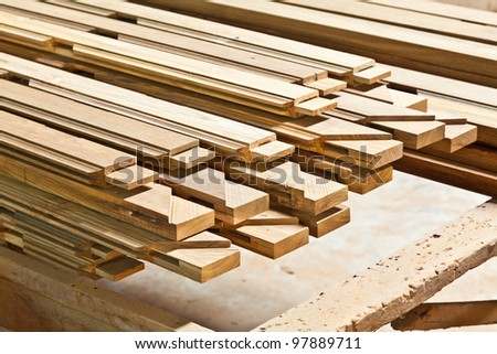 The stock of lumbers in a sawmill - stock photo
