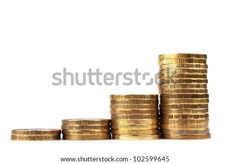 The Stock of Russian Coins on White Background - stock photo