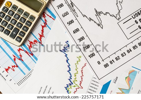 The stock price, to calculate the result - stock photo
