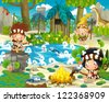 The stone age - illustration for the children - stock vector