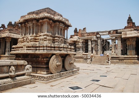 The stone chariot at Vitthala temple - stock photo