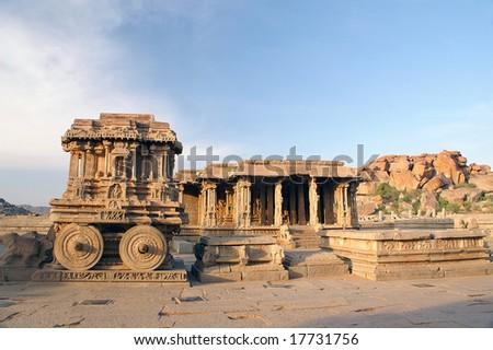 The stone chariot at Vitthala temple, 15th century, Hampi - ancient town Vijayanagar, state of Karnataka, India - stock photo