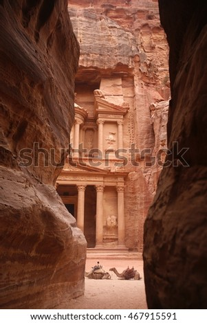 the stone city of petra in jordan in the middle east