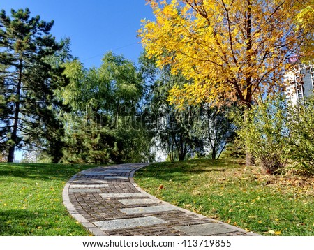 the stone path in the garden - stock photo
