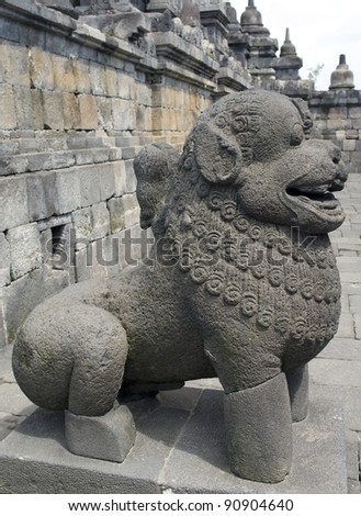 The stone sculpture of a lion  of Borobudur in Yogyakarta, Indonesia.